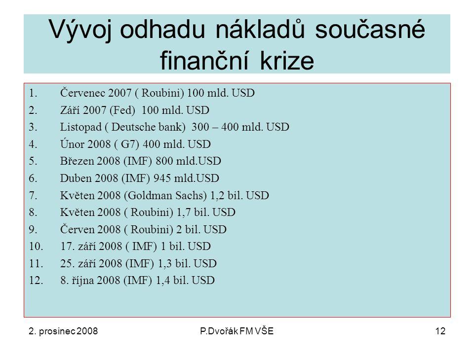2. prosinec 2008P.Dvořák FM VŠE12 Vývoj odhadu nákladů současné finanční krize 1.Červenec 2007 ( Roubini) 100 mld. USD 2.Září 2007 (Fed) 100 mld. USD