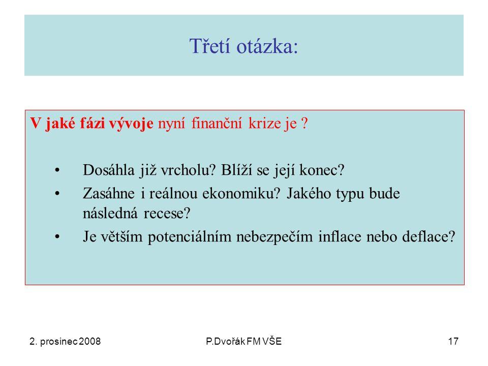 2. prosinec 2008P.Dvořák FM VŠE17 Třetí otázka: V jaké fázi vývoje nyní finanční krize je .