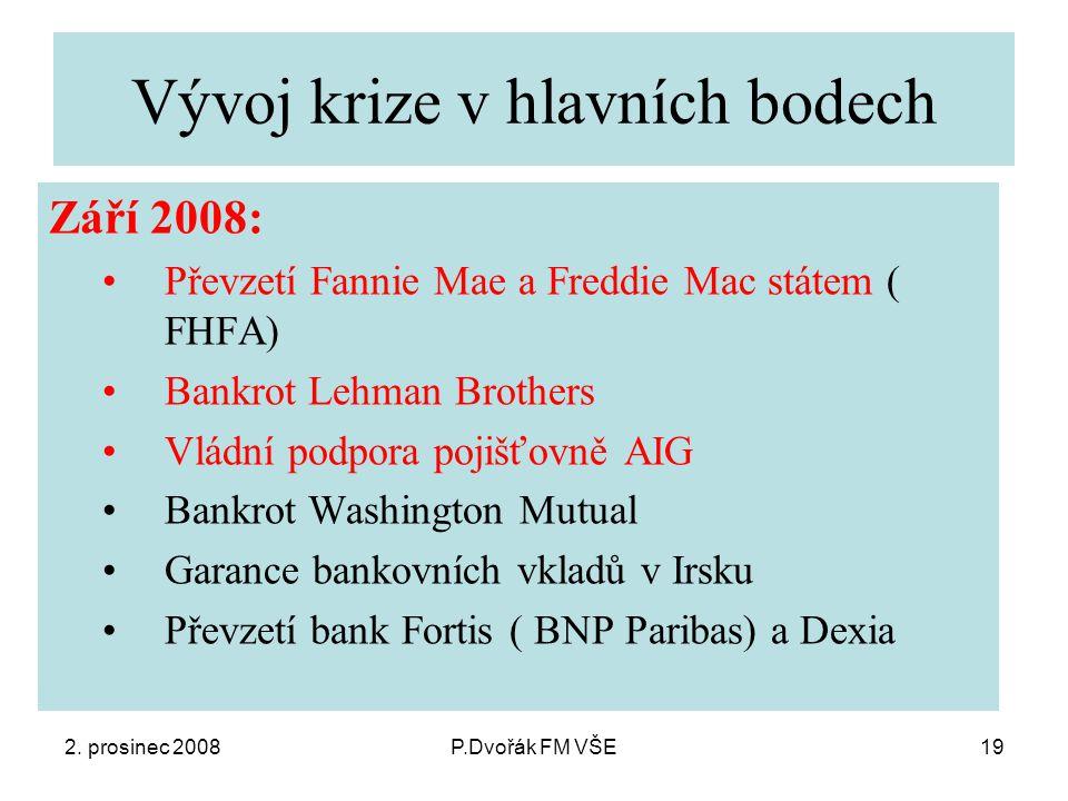 2. prosinec 2008P.Dvořák FM VŠE19 Vývoj krize v hlavních bodech Září 2008: Převzetí Fannie Mae a Freddie Mac státem ( FHFA) Bankrot Lehman Brothers Vl