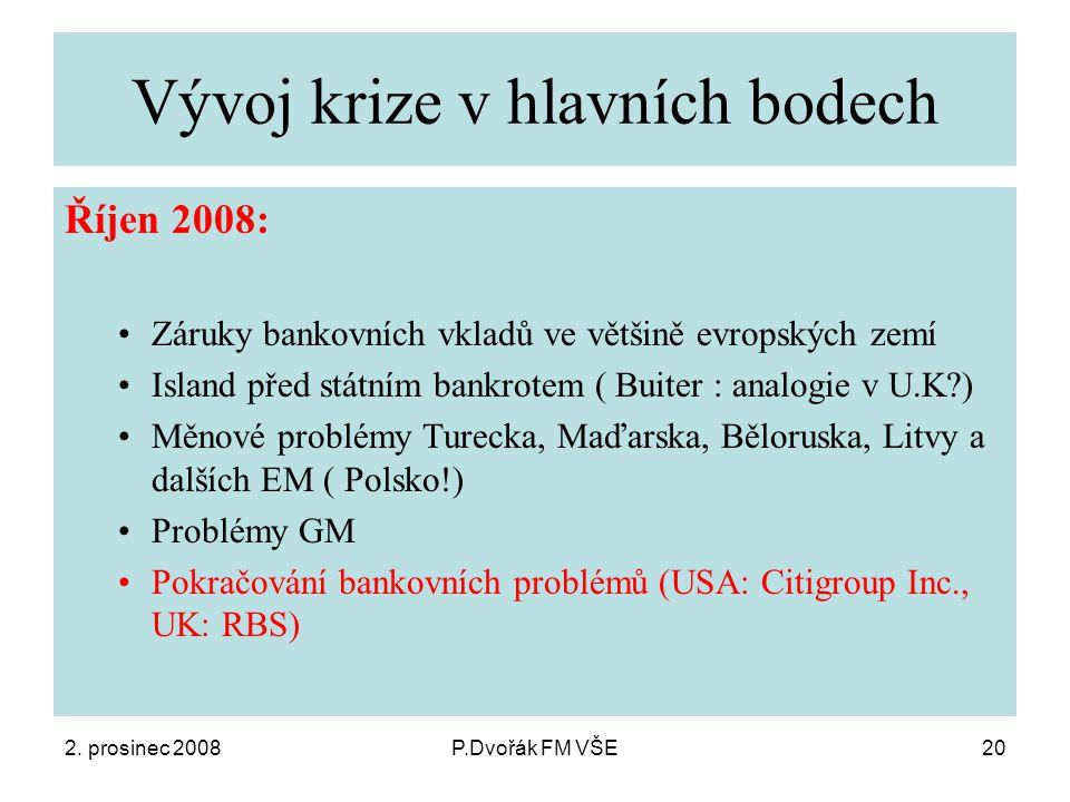 2. prosinec 2008P.Dvořák FM VŠE20 Vývoj krize v hlavních bodech Říjen 2008: Záruky bankovních vkladů ve většině evropských zemí Island před státním ba