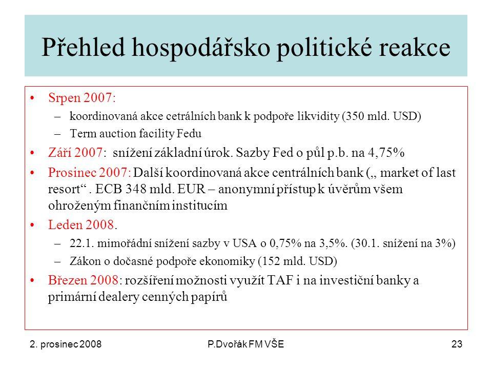 2. prosinec 2008P.Dvořák FM VŠE23 Přehled hospodářsko politické reakce Srpen 2007: –koordinovaná akce cetrálních bank k podpoře likvidity (350 mld. US