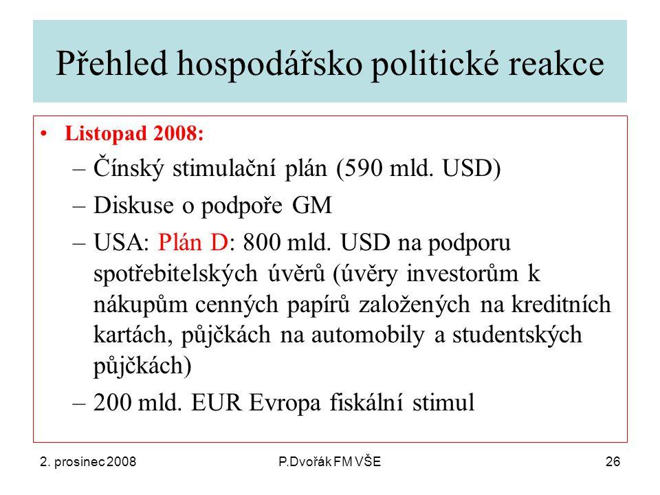 2. prosinec 2008P.Dvořák FM VŠE26 Přehled hospodářsko politické reakce Listopad 2008: –Čínský stimulační plán (590 mld. USD) –Diskuse o podpoře GM –US