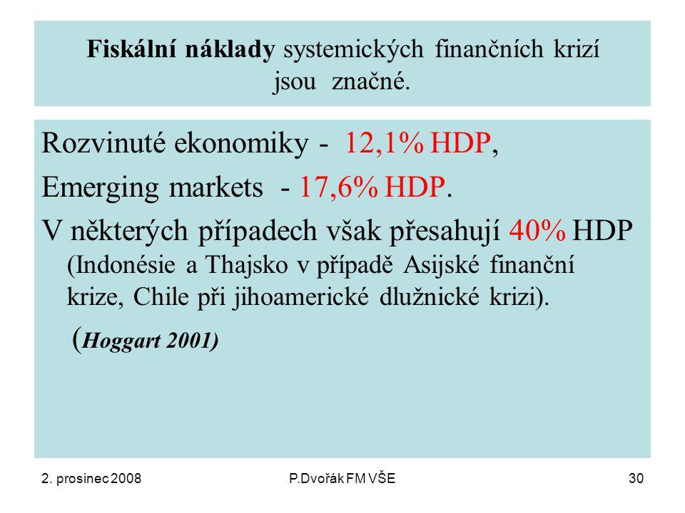 2. prosinec 2008P.Dvořák FM VŠE30 Fiskální náklady systemických finančních krizí jsou značné.