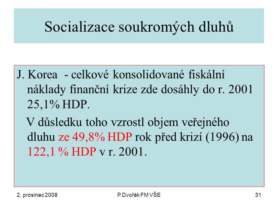 2. prosinec 2008P.Dvořák FM VŠE31 Socializace soukromých dluhů J.