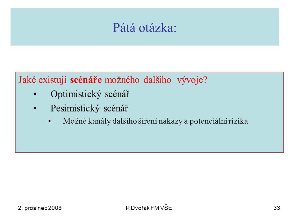 2. prosinec 2008P.Dvořák FM VŠE33 Pátá otázka: Jaké existují scénáře možného dalšího vývoje.