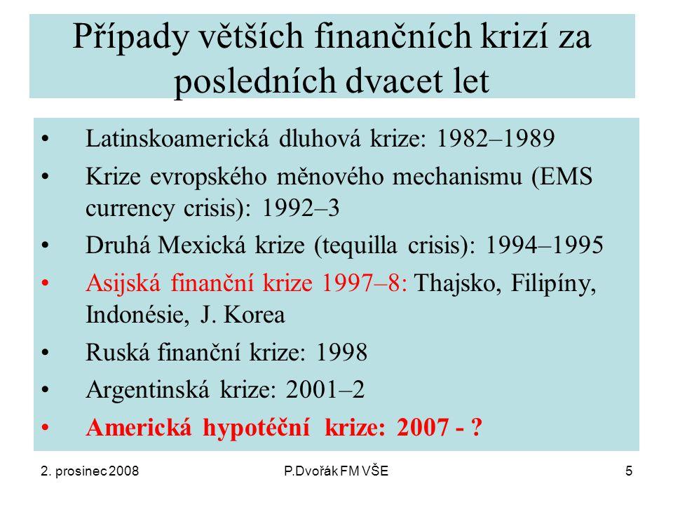 2. prosinec 2008P.Dvořák FM VŠE5 Případy větších finančních krizí za posledních dvacet let Latinskoamerická dluhová krize: 1982–1989 Krize evropského