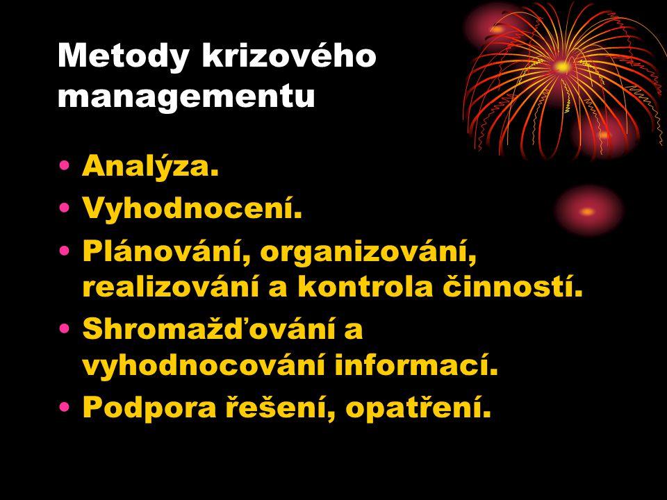 Metody krizového managementu Analýza.Vyhodnocení.