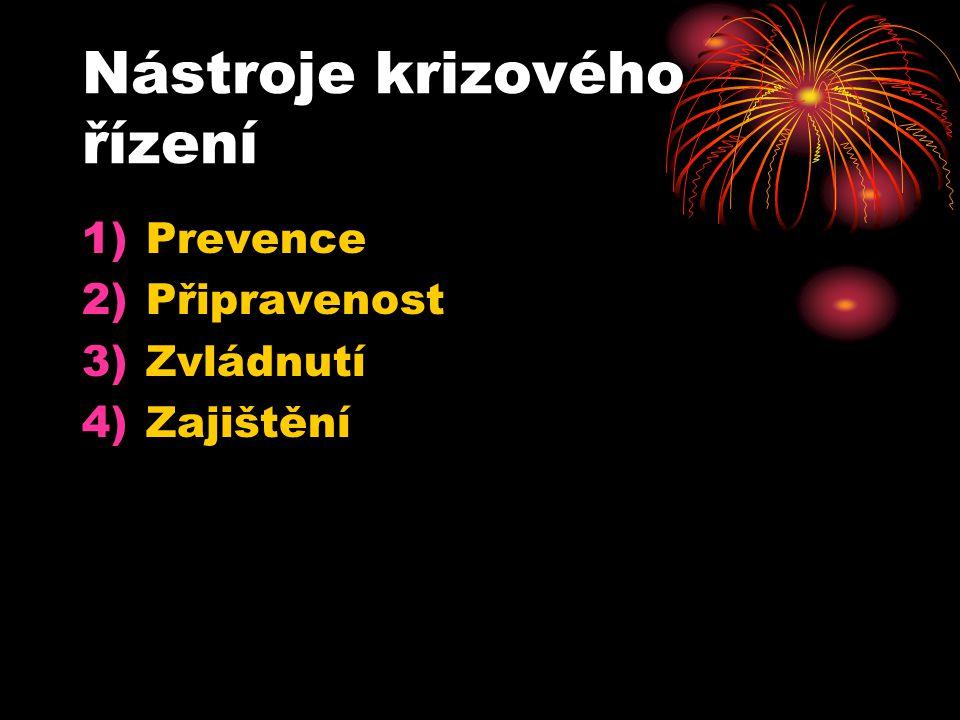 Nástroje krizového řízení 1)Prevence 2)Připravenost 3)Zvládnutí 4)Zajištění