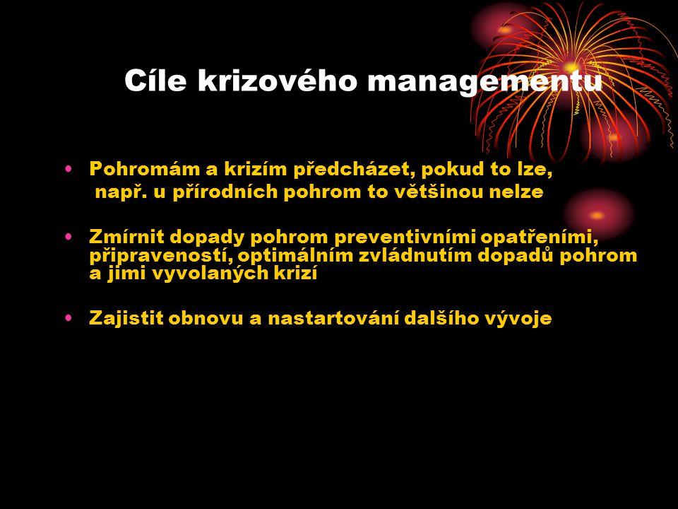 Cíle krizového managementu Pohromám a krizím předcházet, pokud to lze, např.