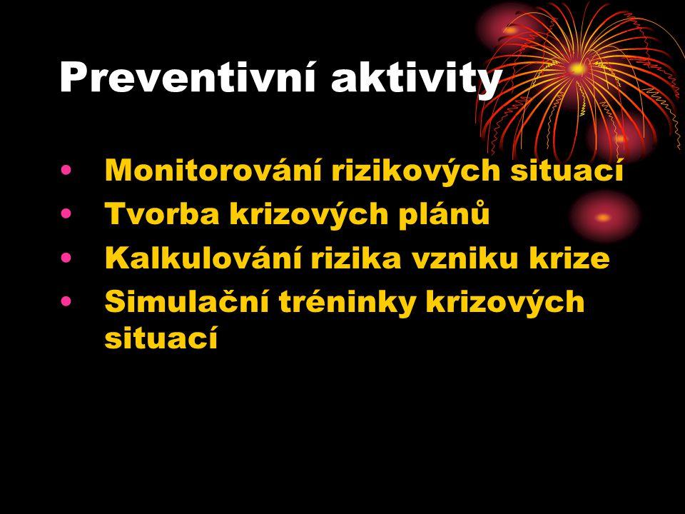 Preventivní aktivity Monitorování rizikových situací Tvorba krizových plánů Kalkulování rizika vzniku krize Simulační tréninky krizových situací