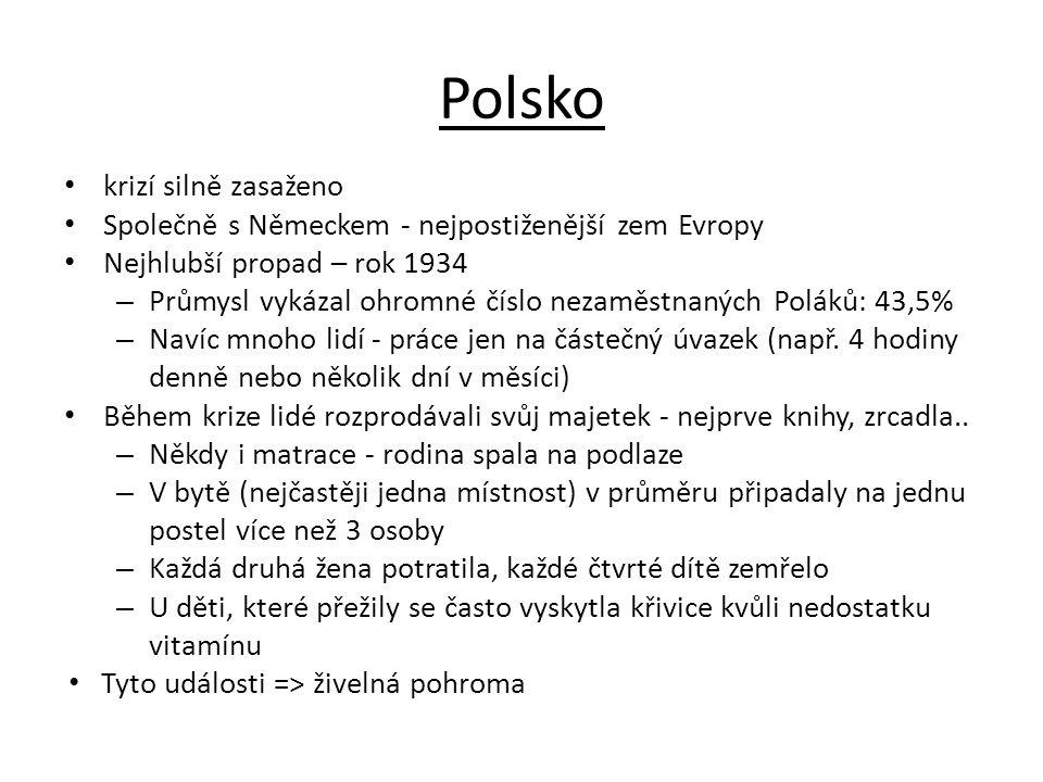 Polsko krizí silně zasaženo Společně s Německem - nejpostiženější zem Evropy Nejhlubší propad – rok 1934 – Průmysl vykázal ohromné číslo nezaměstnanýc