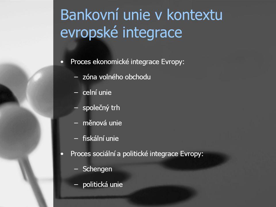 Bankovní unie v kontextu evropské integrace Proces ekonomické integrace Evropy: –zóna volného obchodu –celní unie –společný trh –měnová unie –fiskální unie Proces sociální a politické integrace Evropy: –Schengen –politická unie