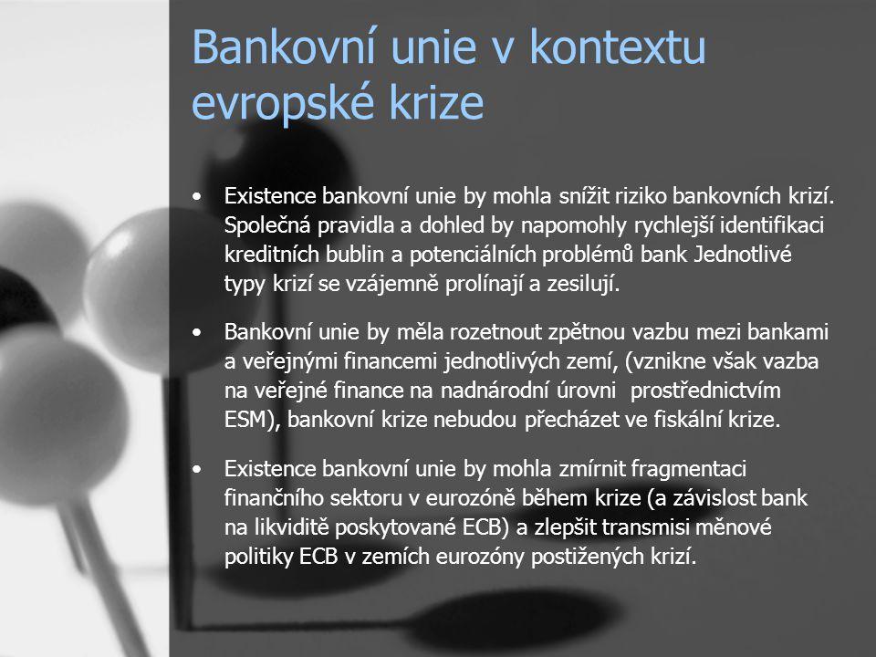 Bankovní unie v kontextu evropské krize Existence bankovní unie by mohla snížit riziko bankovních krizí.