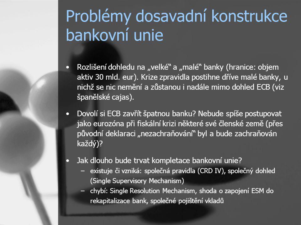 """Problémy dosavadní konstrukce bankovní unie Rozlišení dohledu na """"velké a """"malé banky (hranice: objem aktiv 30 mld."""