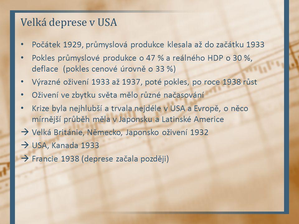 Velká deprese v USA Počátek 1929, průmyslová produkce klesala až do začátku 1933 Pokles průmyslové produkce o 47 % a reálného HDP o 30 %, deflace (pok