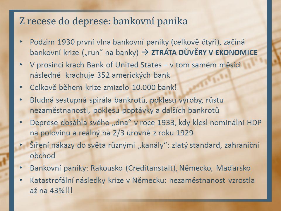 """Z recese do deprese: bankovní panika Podzim 1930 první vlna bankovní paniky (celkově čtyři), začíná bankovní krize (""""run"""" na banky)  ZTRÁTA DŮVĚRY V"""
