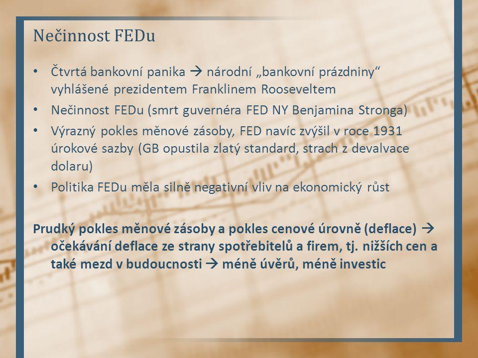 """Nečinnost FEDu Čtvrtá bankovní panika  národní """"bankovní prázdniny"""" vyhlášené prezidentem Franklinem Rooseveltem Nečinnost FEDu (smrt guvernéra FED N"""