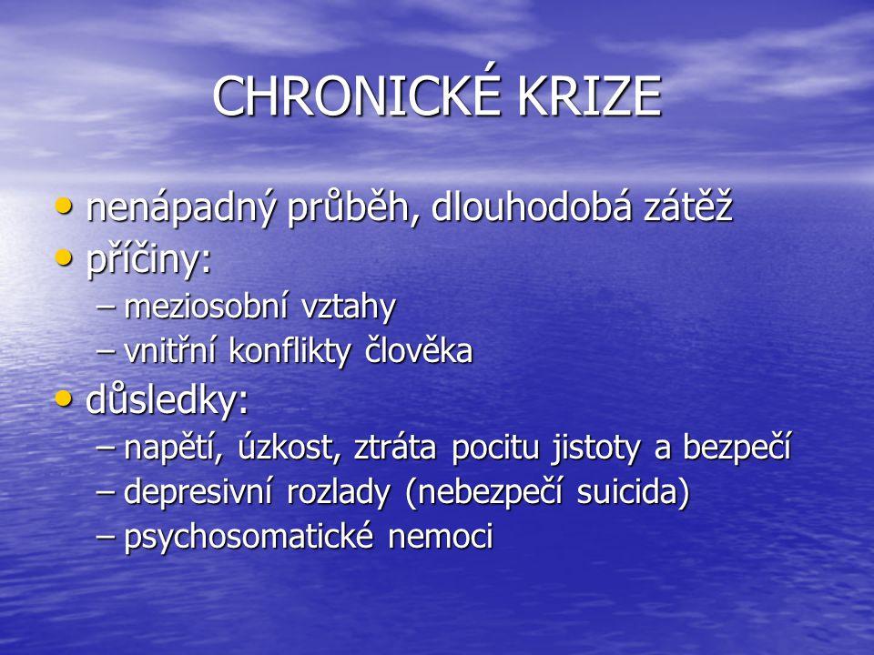 TYPY KRIZÍ krize situační krize situační krize z náhlého traumatizujícího zážitku krize z náhlého traumatizujícího zážitku tranzitorní krize tranzitorní krize vývojové krize, krize zrání vývojové krize, krize zrání krize pramenící z psychopatologie krize pramenící z psychopatologie krize z psychiatrické neodkladnosti krize z psychiatrické neodkladnosti krize psychospirituální krize psychospirituální