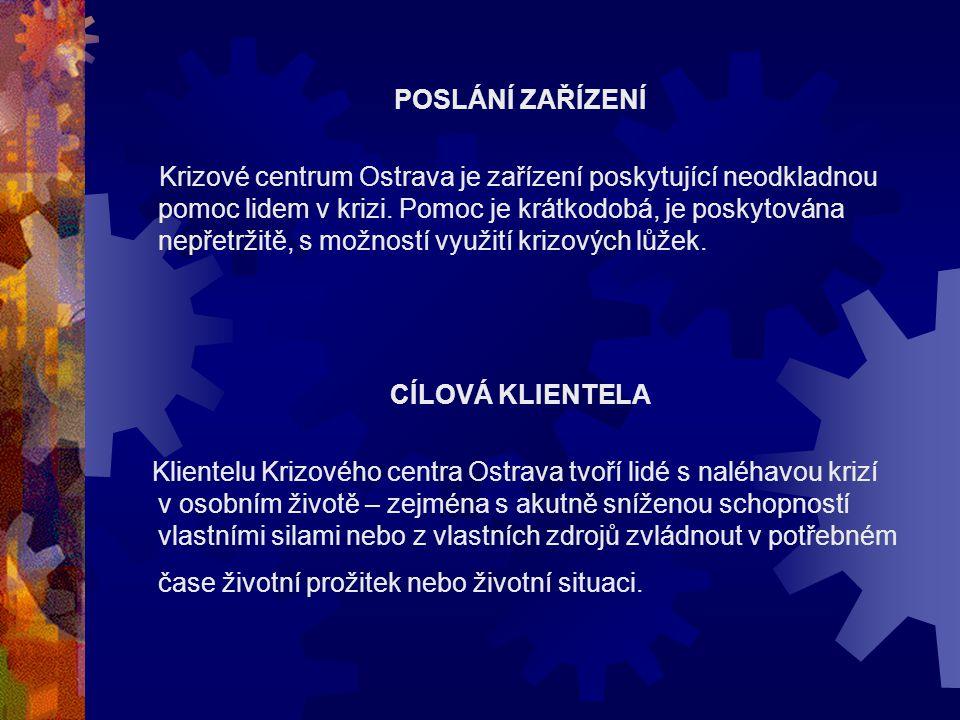 POSLÁNÍ ZAŘÍZENÍ Krizové centrum Ostrava je zařízení poskytující neodkladnou pomoc lidem v krizi. Pomoc je krátkodobá, je poskytována nepřetržitě, s m