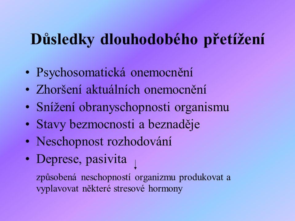 Důsledky dlouhodobého přetížení Psychosomatická onemocnění Zhoršení aktuálních onemocnění Snížení obranyschopnosti organismu Stavy bezmocnosti a bezna
