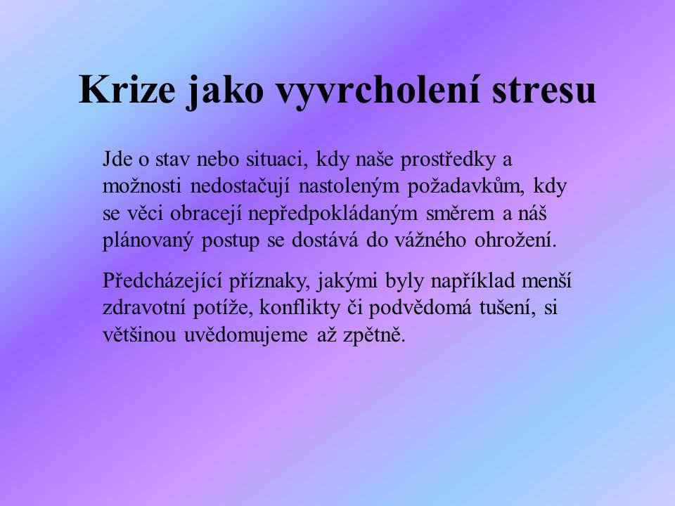 Krize jako vyvrcholení stresu Jde o stav nebo situaci, kdy naše prostředky a možnosti nedostačují nastoleným požadavkům, kdy se věci obracejí nepředpo