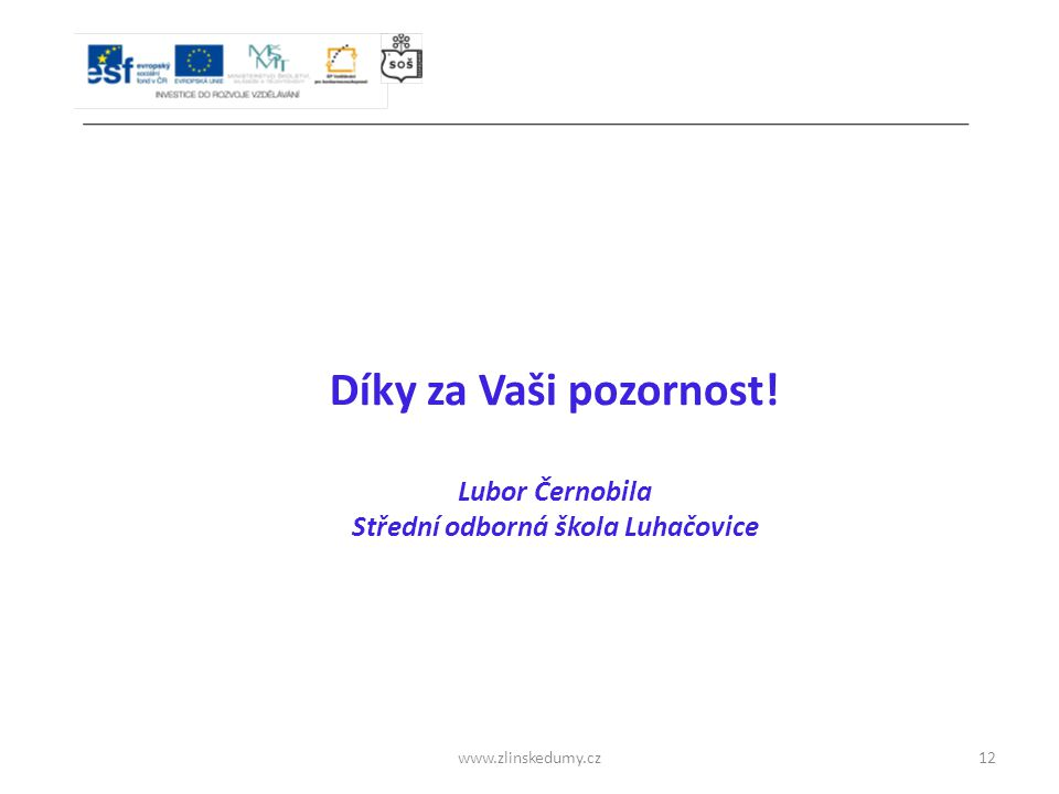 www.zlinskedumy.cz Díky za Vaši pozornost! Lubor Černobila Střední odborná škola Luhačovice 12