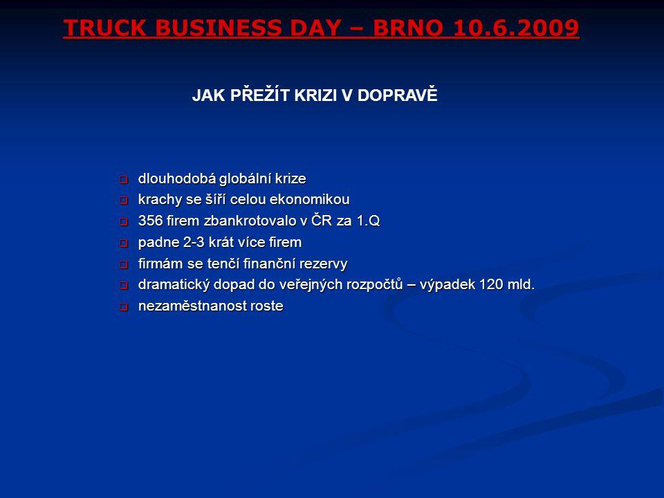 TRUCK BUSINESS DAY – BRNO 10.6.2009  dlouhodobá globální krize  krachy se šíří celou ekonomikou  356 firem zbankrotovalo v ČR za 1.Q  padne 2-3 kr