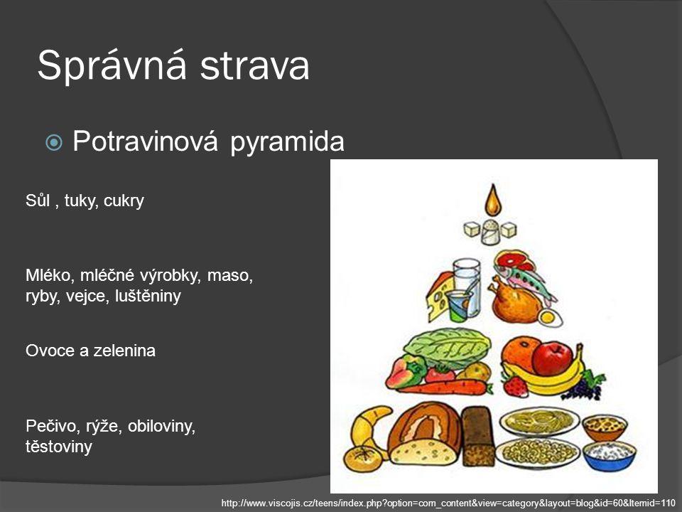 Správná strava  Potravinová pyramida Pečivo, rýže, obiloviny, těstoviny Ovoce a zelenina Mléko, mléčné výrobky, maso, ryby, vejce, luštěniny Sůl, tuk