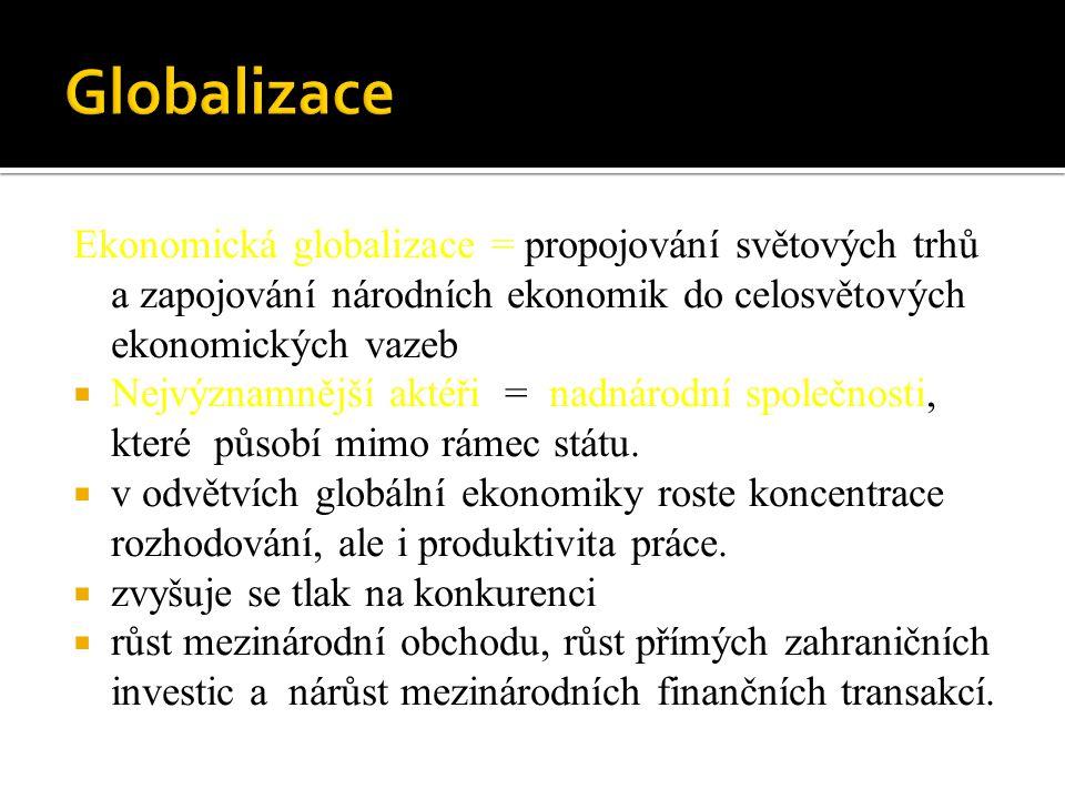 Ekonomická globalizace = propojování světových trhů a zapojování národních ekonomik do celosvětových ekonomických vazeb  Nejvýznamnější aktéři = nadn