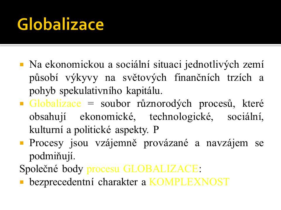  Na ekonomickou a sociální situaci jednotlivých zemí působí výkyvy na světových finančních trzích a pohyb spekulativního kapitálu.  Globalizace = so