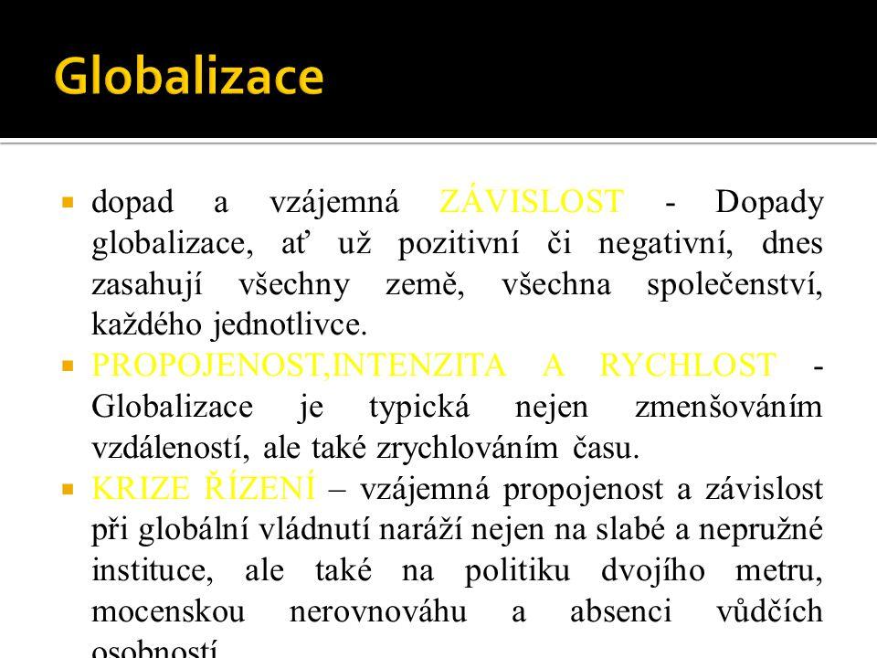 Ekonomická globalizace = propojování světových trhů a zapojování národních ekonomik do celosvětových ekonomických vazeb  Nejvýznamnější aktéři = nadnárodní společnosti, které působí mimo rámec státu.