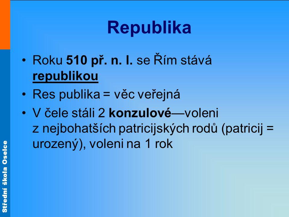 Republika Roku 510 př. n. l. se Řím stává republikou Res publika = věc veřejná V čele stáli 2 konzulové—voleni z nejbohatších patricijských rodů (patr