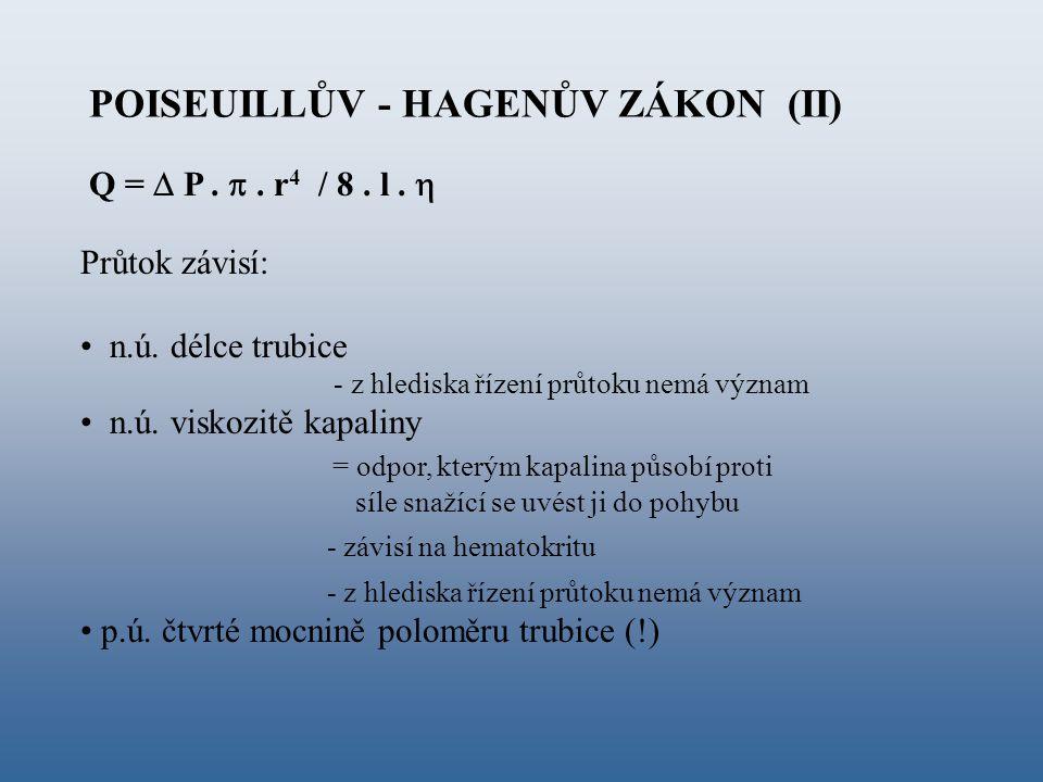 Q =  P. . r 4 / 8. l.  POISEUILLŮV - HAGENŮV ZÁKON (II) Průtok závisí: n.ú. délce trubice - z hlediska řízení průtoku nemá význam n.ú. viskozitě ka
