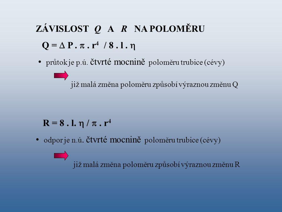 Q =  P. . r 4 / 8. l.  R = 8. l.  / . r 4 průtok je p.ú. čtvrté mocnině poloměru trubice (cévy) odpor je n.ú. čtvrté mocnině poloměru trubice (cé