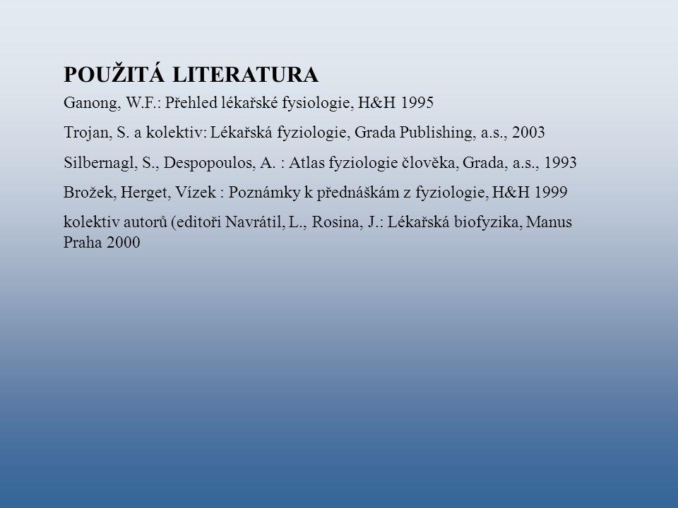 POUŽITÁ LITERATURA Ganong, W.F.: Přehled lékařské fysiologie, H&H 1995 Trojan, S. a kolektiv: Lékařská fyziologie, Grada Publishing, a.s., 2003 Silber