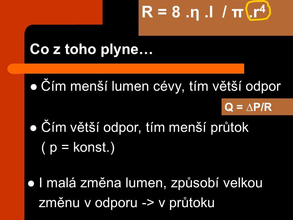Co z toho plyne… Čím menší lumen cévy, tím větší odpor Čím větší odpor, tím menší průtok ( p = konst.) I malá změna lumen, způsobí velkou změnu v odporu -> v průtoku R = 8.η.l / π.r 4 Q = ∆P/R