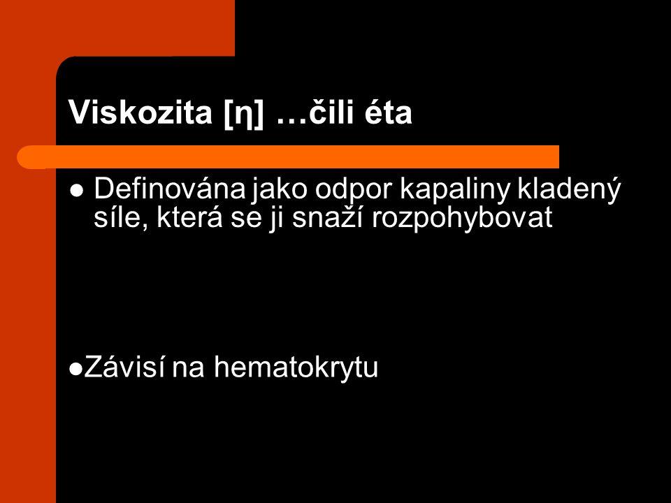 Viskozita [η] …čili éta Definována jako odpor kapaliny kladený síle, která se ji snaží rozpohybovat Závisí na hematokrytu
