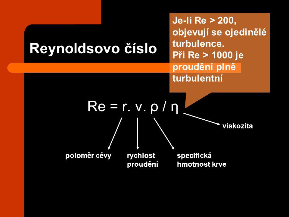 Reynoldsovo číslo Re = r. v. ρ / η poloměr cévyrychlost proudění specifická hmotnost krve viskozita Je-li Re > 200, objevují se ojedinělé turbulence.