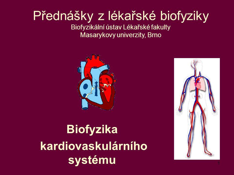 1 Biofyzika kardiovaskulárního systému Přednášky z lékařské biofyziky Biofyzikální ústav Lékařské fakulty Masarykovy univerzity, Brno