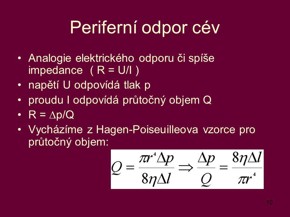 10 Periferní odpor cév Analogie elektrického odporu či spíše impedance ( R = U/I ) napětí U odpovídá tlak p proudu I odpovídá průtočný objem Q R =  p