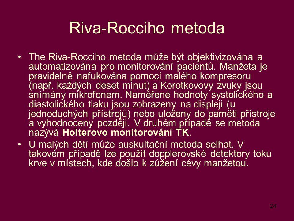 24 Riva-Rocciho metoda The Riva-Rocciho metoda může být objektivizována a automatizována pro monitorování pacientů. Manžeta je pravidelně nafukována p