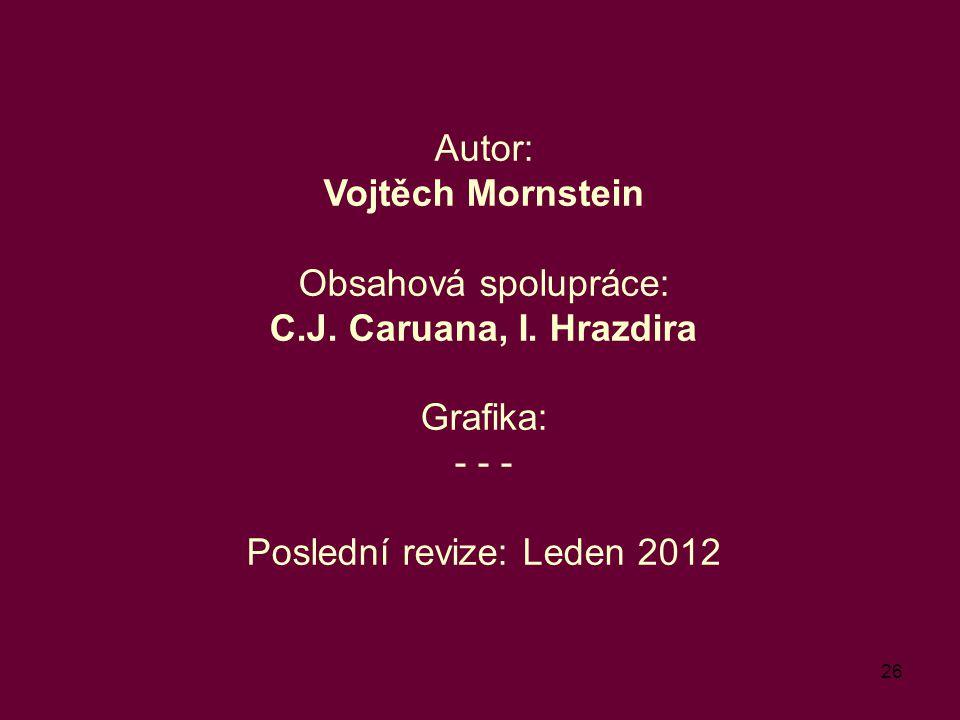 26 Autor: Vojtěch Mornstein Obsahová spolupráce: C.J. Caruana, I. Hrazdira Grafika: - - - Poslední revize: Leden 2012