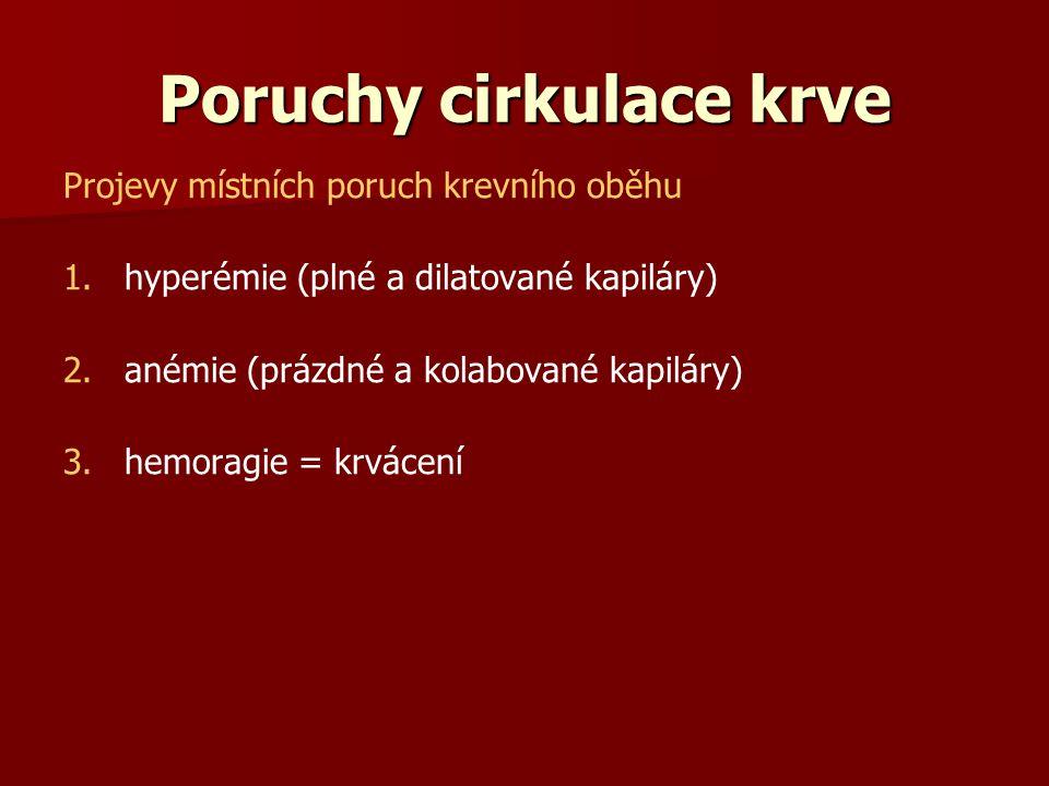 Poruchy cirkulace krve Projevy místních poruch krevního oběhu 1. 1.hyperémie (plné a dilatované kapiláry) 2. 2.anémie (prázdné a kolabované kapiláry)