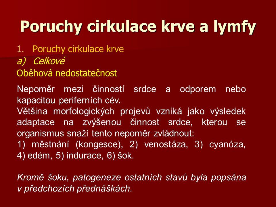 Poruchy cirkulace krve a lymfy 1. 1.Poruchy cirkulace krve a) a)Celkové Oběhová nedostatečnost Nepoměr mezi činností srdce a odporem nebo kapacitou pe