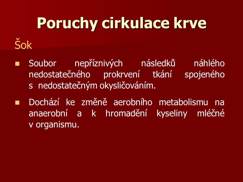 Poruchy cirkulace krve Šok Soubor nepříznivých následků náhlého nedostatečného prokrvení tkání spojeného s nedostatečným okysličováním. Dochází ke změ