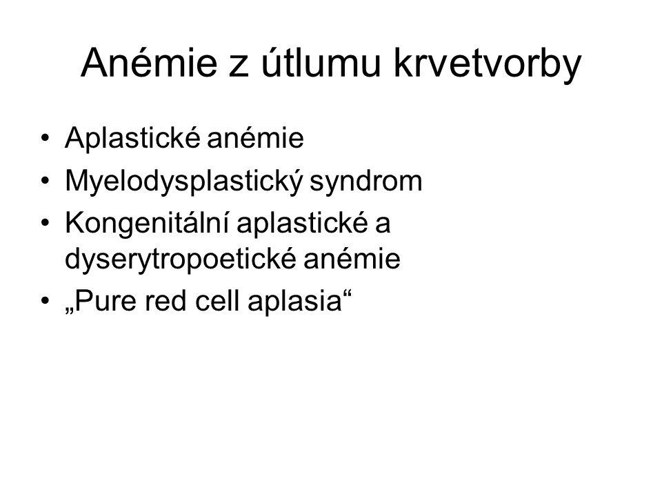 """Anémie z útlumu krvetvorby Aplastické anémie Myelodysplastický syndrom Kongenitální aplastické a dyserytropoetické anémie """"Pure red cell aplasia"""