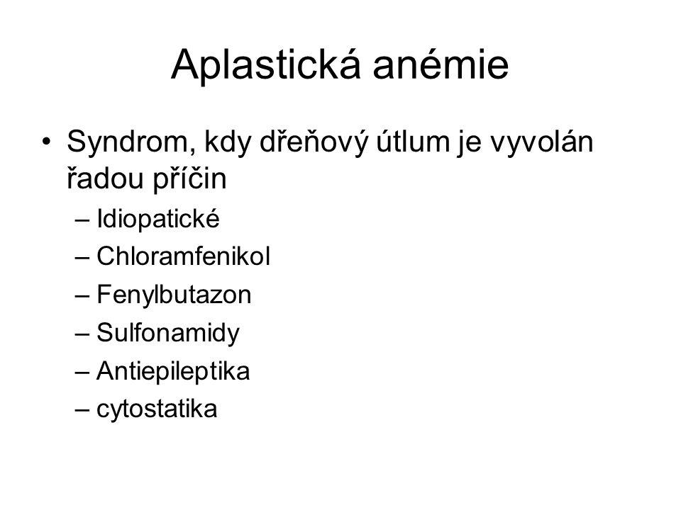 Aplastická anémie Syndrom, kdy dřeňový útlum je vyvolán řadou příčin –Idiopatické –Chloramfenikol –Fenylbutazon –Sulfonamidy –Antiepileptika –cytostatika