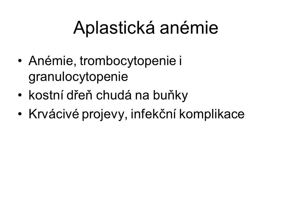 Aplastická anémie Anémie, trombocytopenie i granulocytopenie kostní dřeň chudá na buňky Krvácivé projevy, infekční komplikace