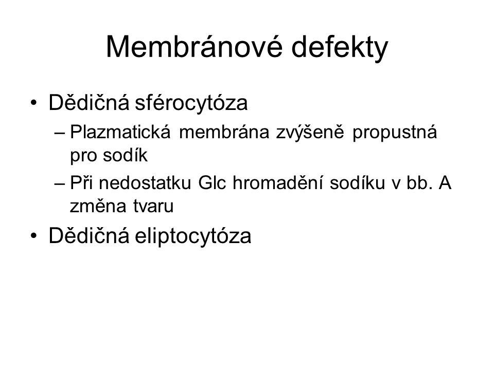 Membránové defekty Dědičná sférocytóza –Plazmatická membrána zvýšeně propustná pro sodík –Při nedostatku Glc hromadění sodíku v bb. A změna tvaru Dědi