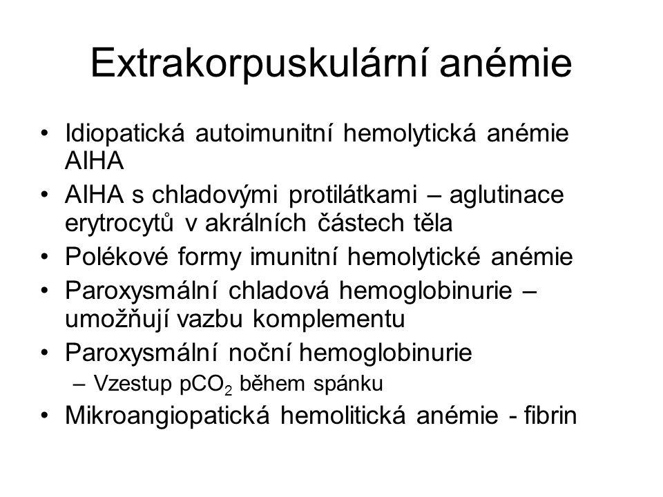 Extrakorpuskulární anémie Idiopatická autoimunitní hemolytická anémie AIHA AIHA s chladovými protilátkami – aglutinace erytrocytů v akrálních částech těla Polékové formy imunitní hemolytické anémie Paroxysmální chladová hemoglobinurie – umožňují vazbu komplementu Paroxysmální noční hemoglobinurie –Vzestup pCO 2 během spánku Mikroangiopatická hemolitická anémie - fibrin